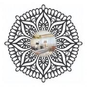 Quadro Vazado | 3D Em Mdf - Decorativo - Mandala e Espelho Em Acrilico - 40x40cm