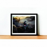 Quadro decorativo com Moldura - Motos - Motocross - 50x40cm