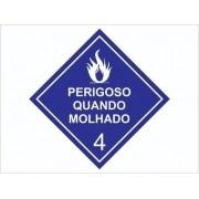 Risco Perigoso Quando Molhado / Adesivo Refletivo - 40x40cm