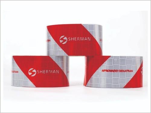 5 Faixa Refletiva Capacete 40x3,5cm + 5 Faixa Bau Sherman 1,40x5cm