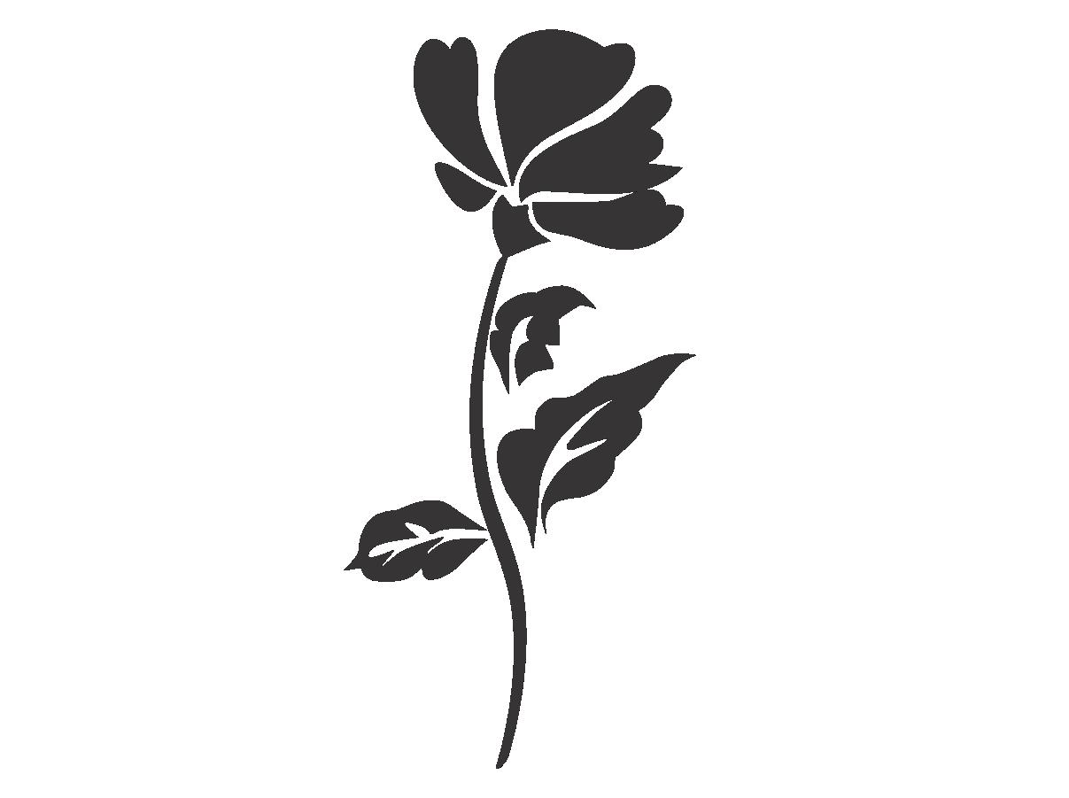 Adesivo Alto Relevo Flor - Preto - 50x100cm