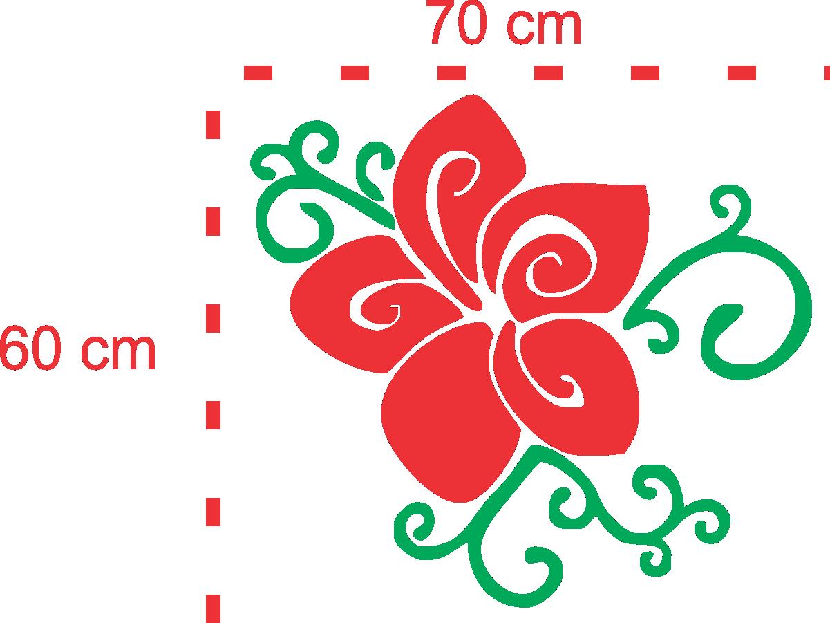 Adesivo Alto Relevo Flor -  Floral Rosa - 60x50cm
