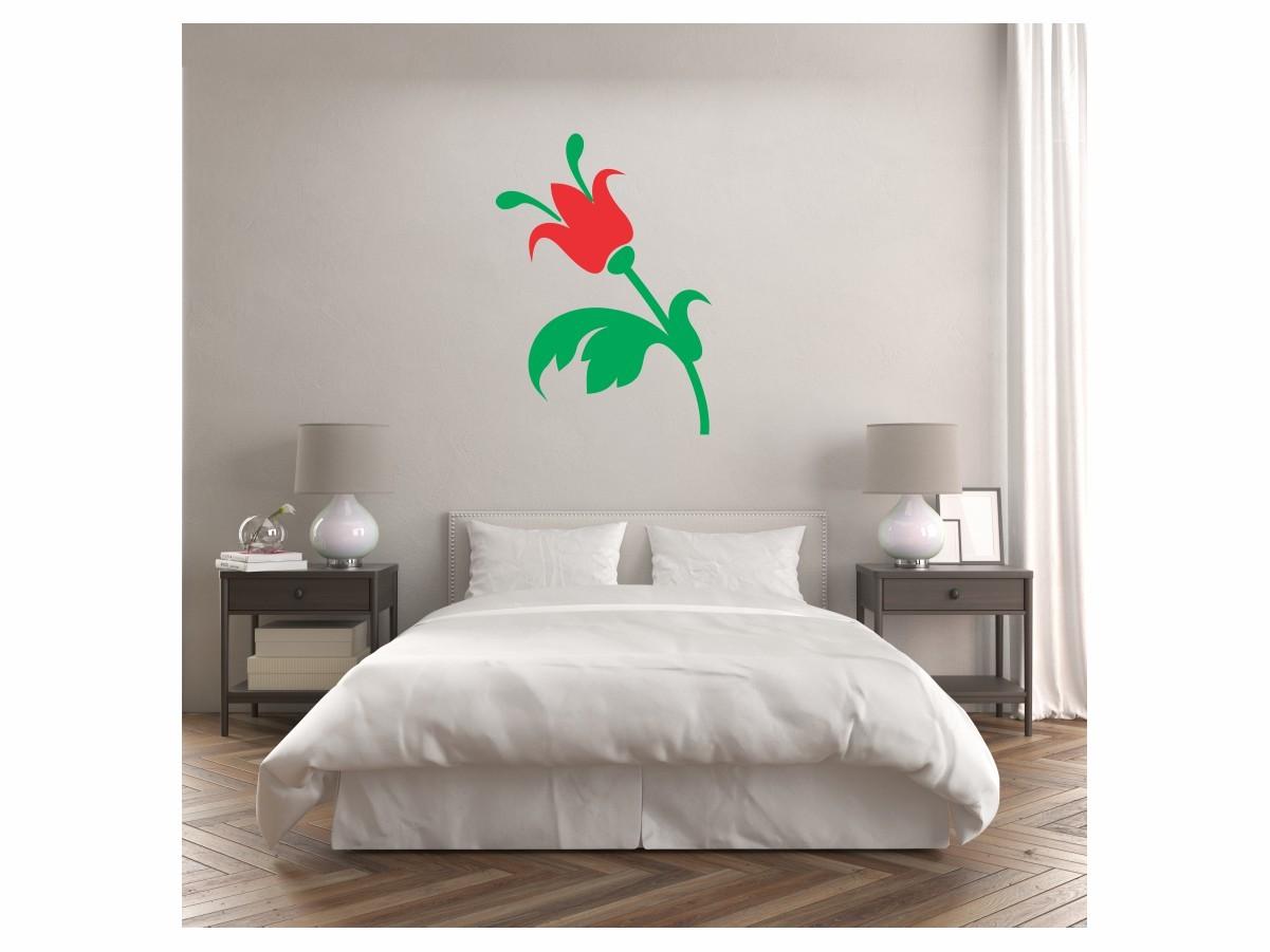 Adesivo Alto Relevo Flor - Flor Vermelha e Verde - 60x85cm