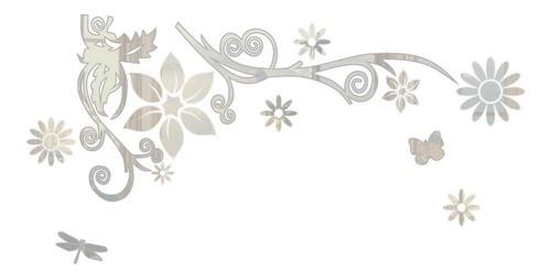 Adesivo De Parede Flor Em Alto Relevo 100x50cm - Prata