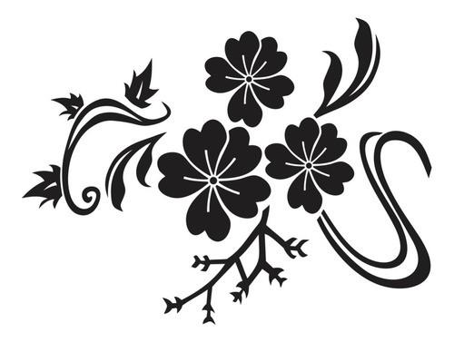 Adesivo De Parede Flores Em Alto Relevo 100x75cm - Preto