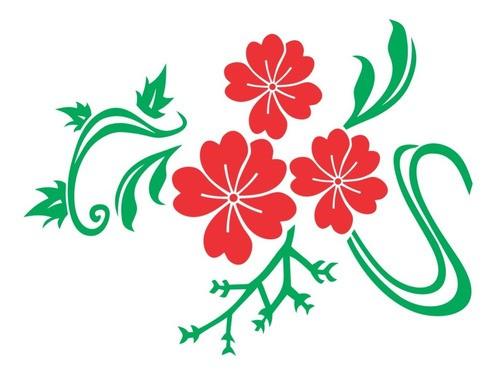 Adesivo De Parede Flor Em Alto Relevo 150x110cm - Verde e Vermelho