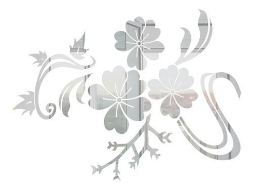 Adesivo De Parede Flor Em Alto Relevo 150x110cm - Prata