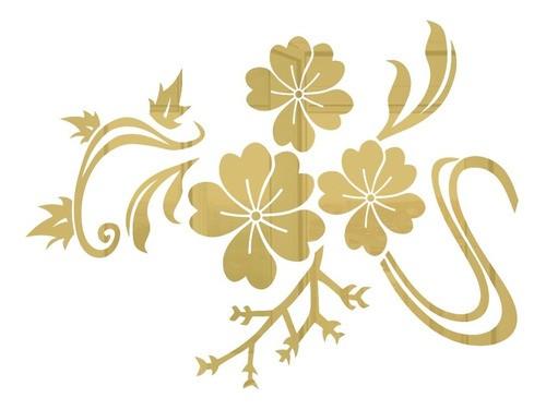 Adesivo De Parede Flor Em Alto Relevo 50x40cm - Dourado