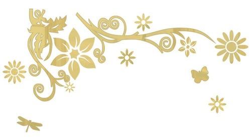 Adesivo De Parede Flor Em Alto Relevo 70x35cm - Dourado