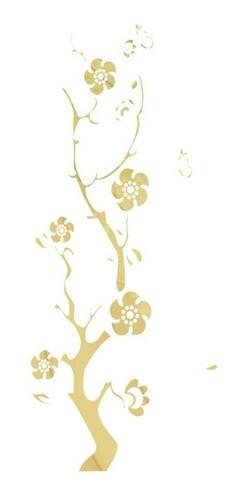 Adesivo Em Alto Relevo P/ Parede - Galhos e Flores 45x110cm - Dourado
