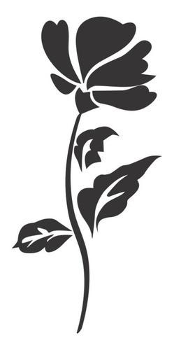 Adesivo Em Alto Relevo P/ Parede Flor 70x150cm - Preto