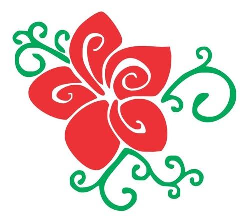 Adesivo Em Alto Relevo P/ Parede Flor 70x60cm - Verde e Vermelha