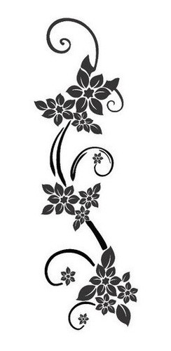 Adesivo Parede Em Alto Relevo Floral 50x150cm - Preto