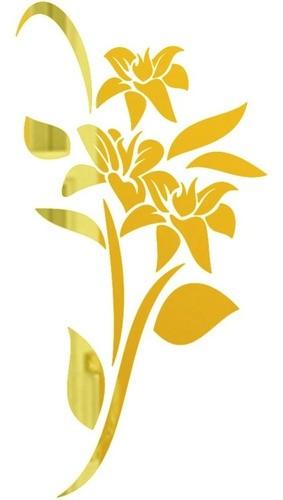 Adesivo Parede Em Alto Relevo Tulipa 50x100cm - Dourado
