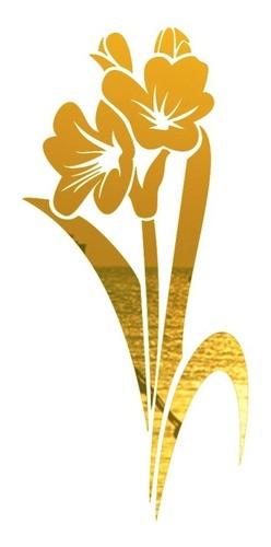 Adesivo Parede Em Alto Relevo - Flor Tulipa 60x130cm - Dourado