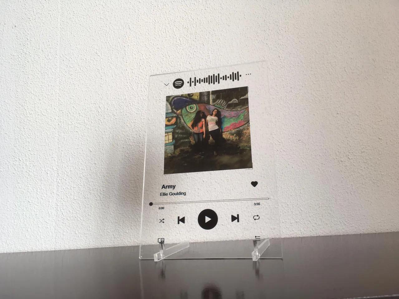 Quadro Spotify em Acrílico - Toca Musica - Personalizado | Personalizável Com Suporte