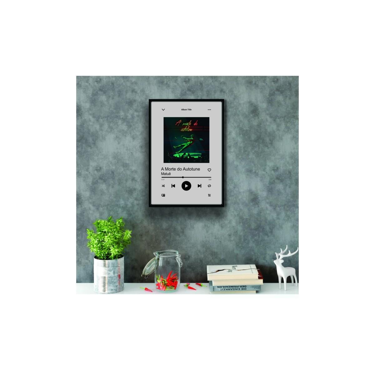 Quadro Spotify  - Toca Musica - Personalizado | Personalizavel - Com Moldura -50x40