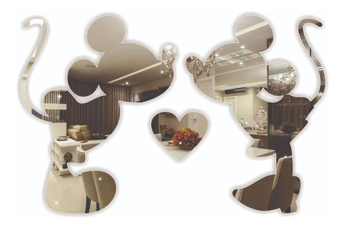 Espelho Decorativo - Mickey & Minnie LOVE - 35x20cm