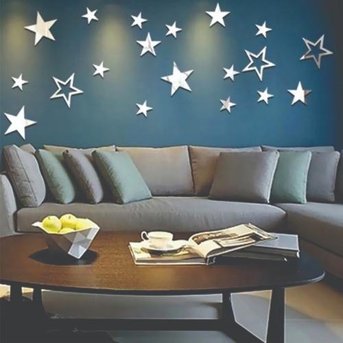Espelho Acrílico | Decoração Espelhada -  Set Estrelas 13 Peças - Dourado (Total 65x35cm)