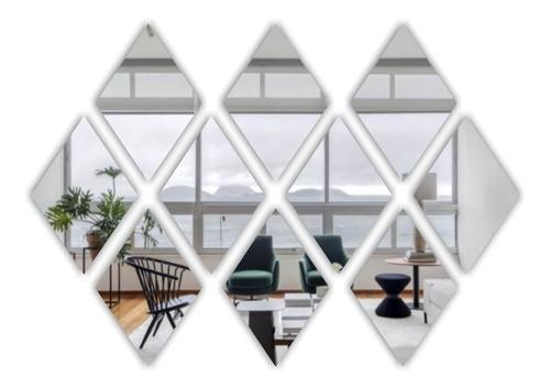 Espelho Acrílico Decorativo -  Mosaico Losango 20 Peças - 10x15cm Cada