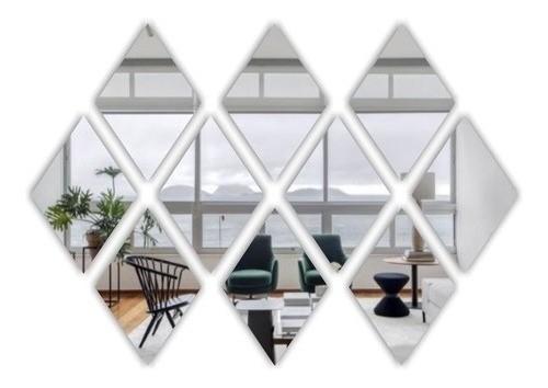 Espelho Acrílico Decorativo -  Mosaico Losango 50 Peças - 10x15cm Cada