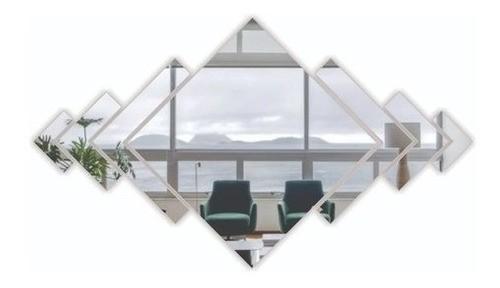 Espelho Acrílico Decorativo Mosaico Losango 7 Peças - 15x13cm