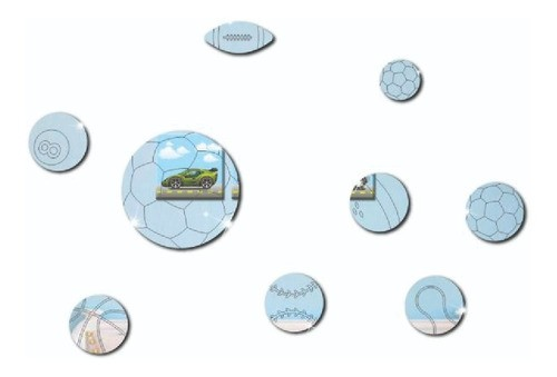 Espelho Decorativo -  Bolas - 9 Peças -20x20