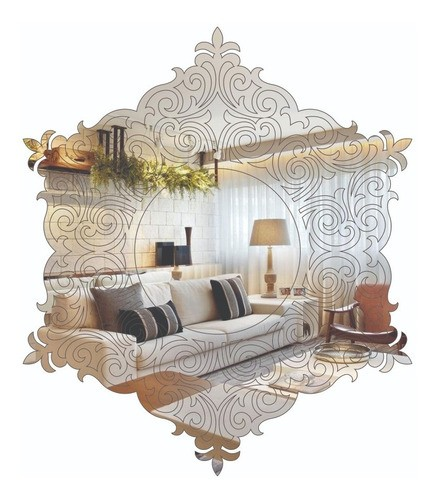 Espelho Decorativo C/ Gravação E Arabescos 40x40cm
