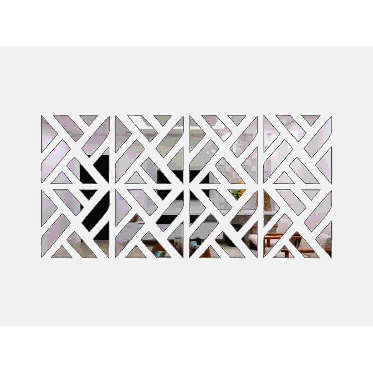 Espelho Decorativo Mosaico Quadrados Repartidos 100x50cm