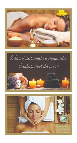 Kit 3 quadros decorativos - Estetica | Spa | Massagem - 50x30cm