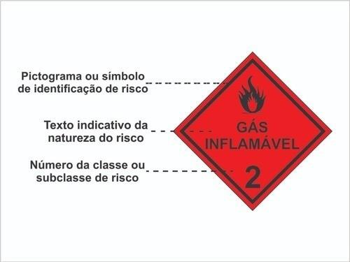 Gás Inflamável Classe 2 / Produtos Perigosos / Adesivo Refletivo 30x30xm