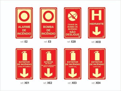Kit  - 25 Placas Fotoluminescente - Extintor | Saída  - ABNT 13434