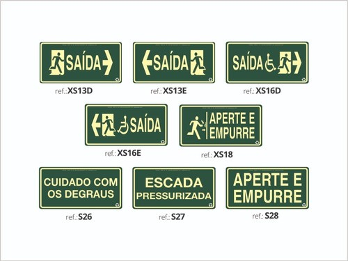 Kit  - 30 Placas Fotoluminescente - Extintor | Saída  - ABNT 13434