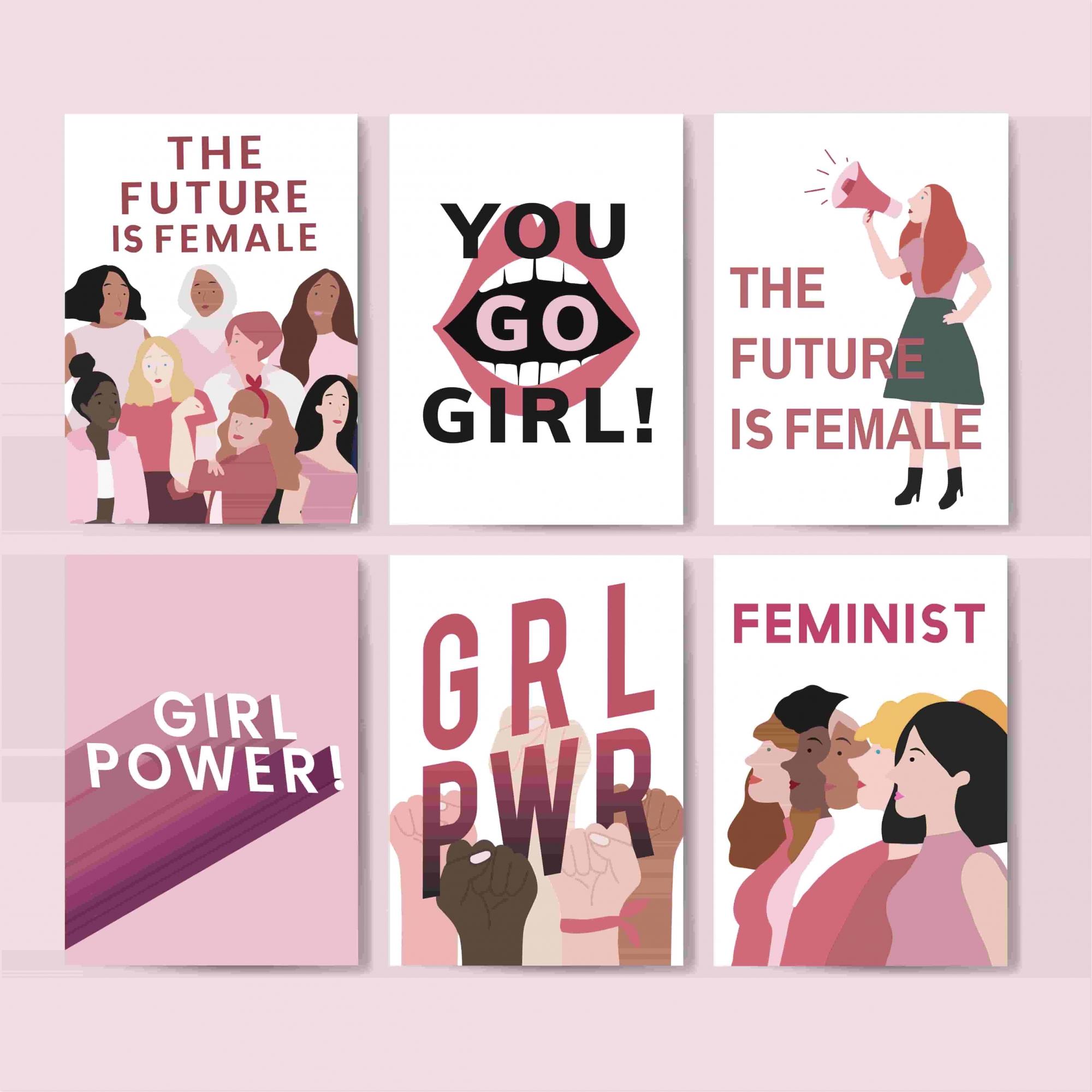 Kit 6 Quadros decorativos - GRL PWR| Girl Power | Futuro Feminino | Dia da Mulher - 60 x 63 cm