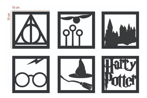 Kit 6 Quadros Harry Potter Mdf Preto Fosco -