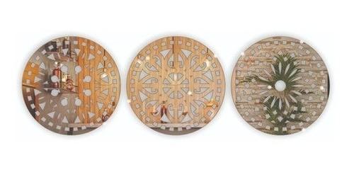 Kit 3 Espelhos Decorativos -  Mandalas Acrílico Espelhado + Deus é bom em MDF