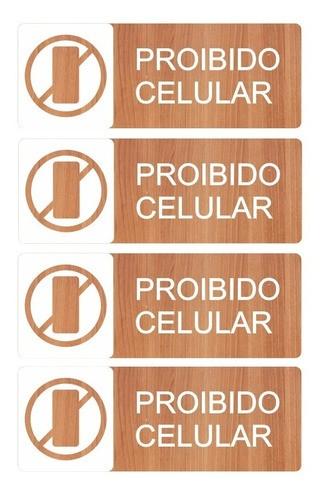 Kit Placas Proibido Celular 4pçs Sala De Aula -alto Relevo