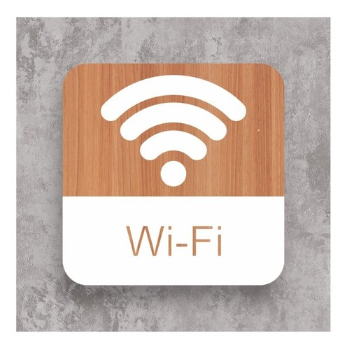 Kit Placas Wi-fi P/ Restaurante, Bar, Comércio 4 Peças - 15x15cm