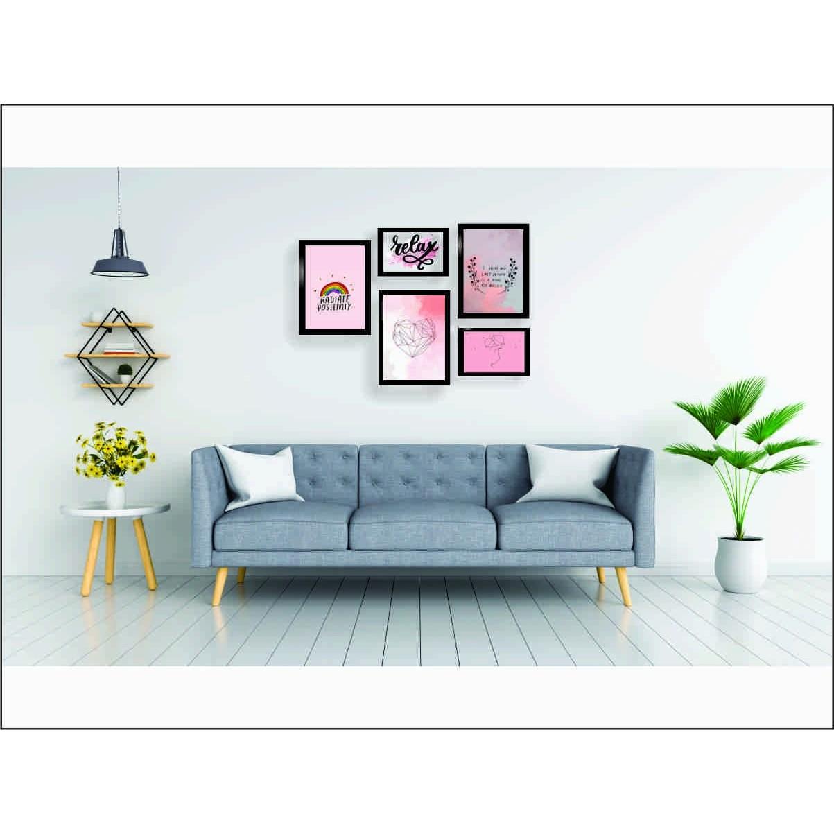 Kit 5 Quadros Decorativos - Relex | Hope | Love Com Moldura - 100x70cm