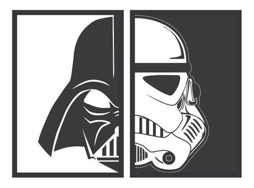 Kit 2 Quadros Star Wars - Darth Vader | Stormtrooper com moldura - 40x60cm