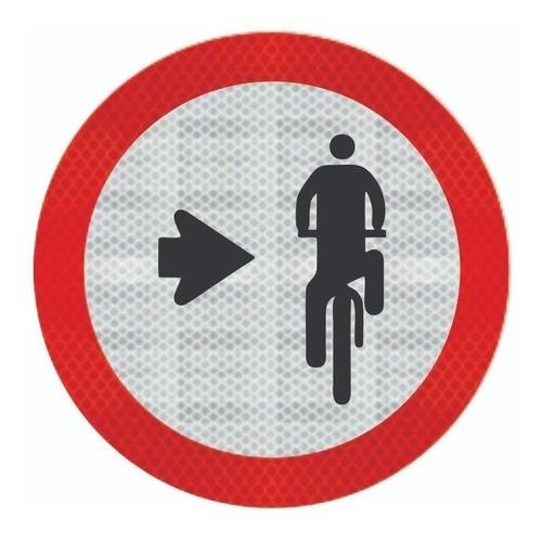Placa Ciclista, Transite À Direita R-35b Grau Técnico Comercial - 50x50cm