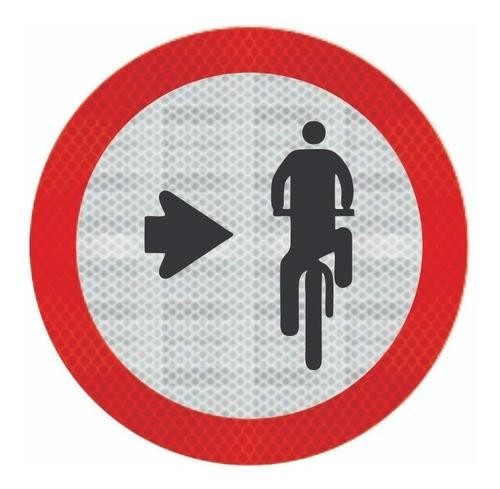 Placa Ciclista, Transite À Direita Refletivo R-35b Grau Técnico I - 50x50cm