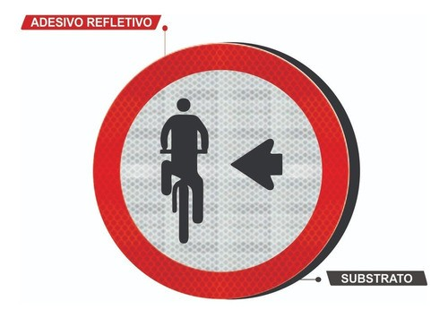 Placa Ciclista, Transite À Esquerda R-35a Grau Técnico I - 50x50cm