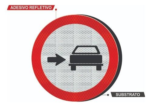 Placa Conserve-se A Direita C/ Adesivo Refletivo R-23 Grau Técnico I - 50x50cm