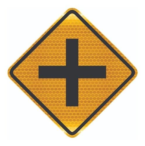 Placa Cruzamento De Vias A-6 Grau Técnico Comercial - 50x50cm