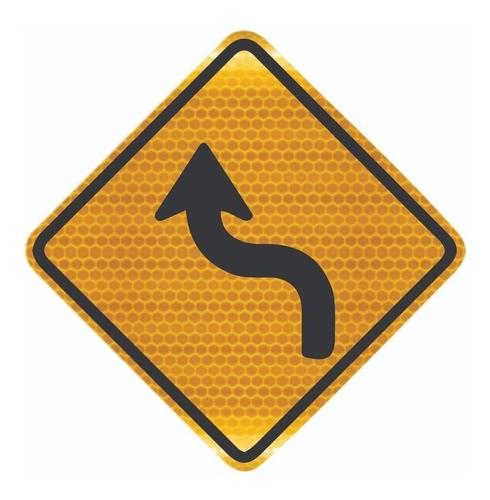 Placa Curva Acentuada Em s À Esquerda Refletiva A-4a Grau Técnico I - 50x50cm