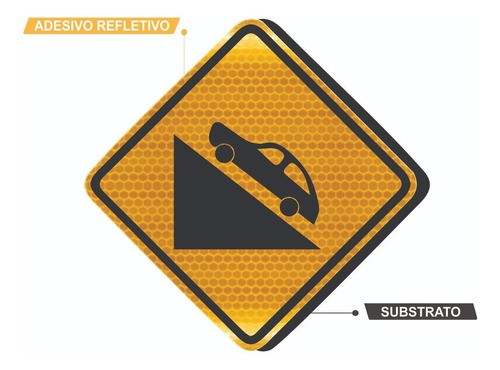 Placa De Aclive Acentuado Com Adesivo Refletivo A-20b Grau Técnico I - 50x50cm