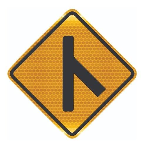 Placa De Rua Confluência À Direita Grau Técnico A-13b Grau Técnico I - 50x50cm