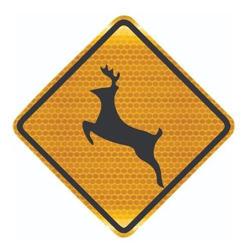 Placa De Trânsito Animais Selvagens Grau Técnico A-36 Grau Técnico Comercial - 50x50cm