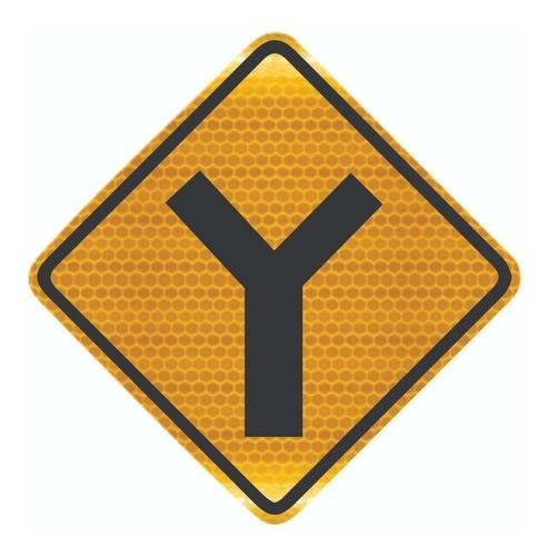 Placa De Trânsito Bifurcação Em Y Refletiva A-9 Grau Técnico I - 50x50cm